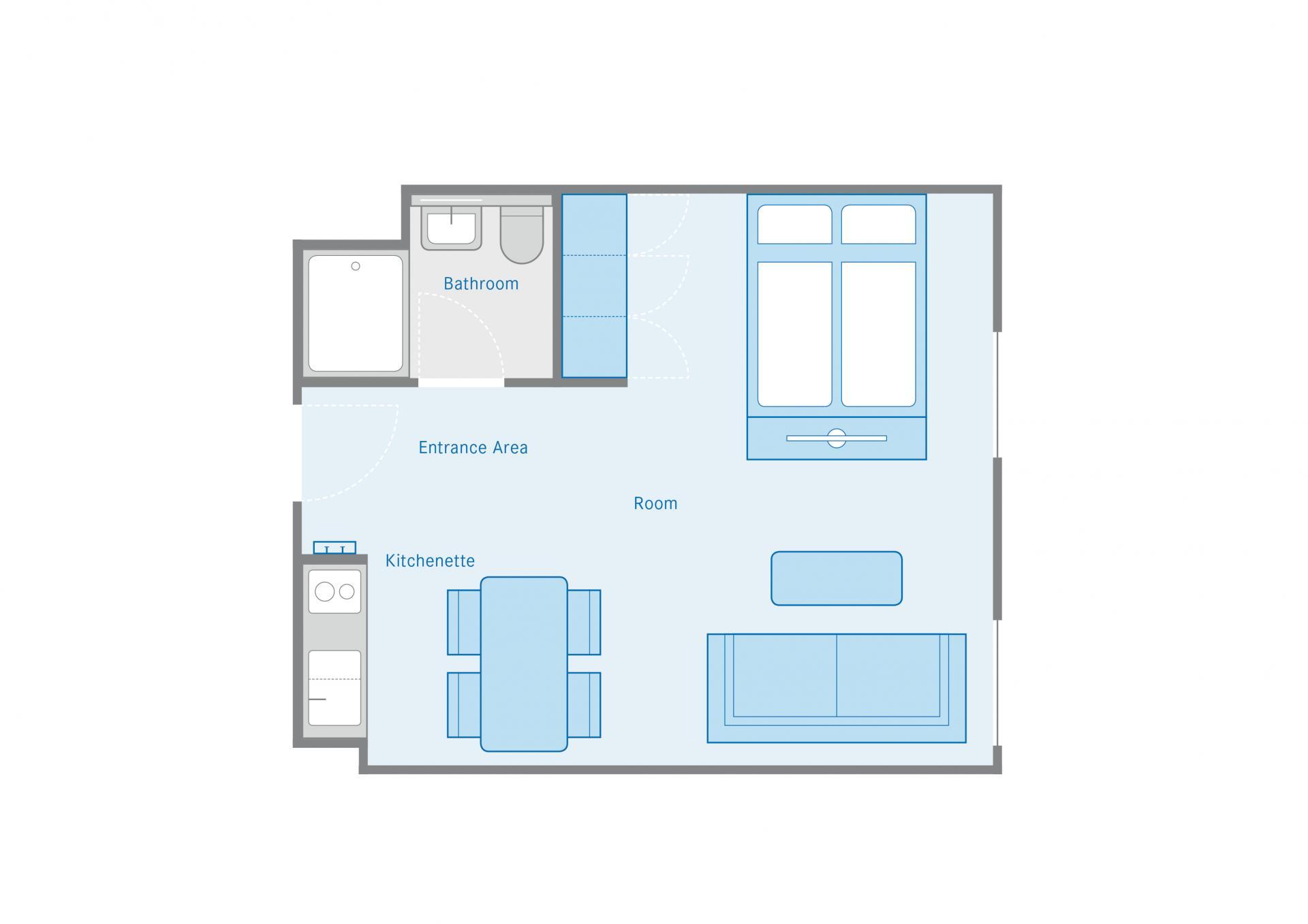 Studio XL Floor Plan at the Munich Parkstadt Schwabing Apartments