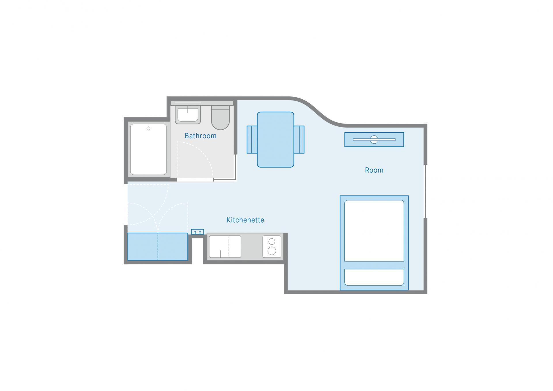 Studio Floor Plan at the Munich Parkstadt Schwabing Apartments
