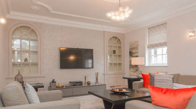 Living area at City Pads Mayfair Apartment