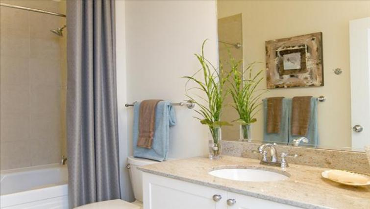 Bath and shower at Wisconsin Place Apartments