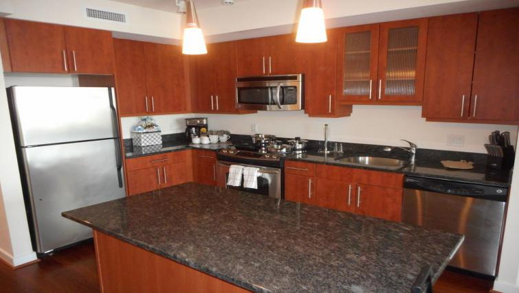 Modern kitchen at Wisconsin Place Apartments