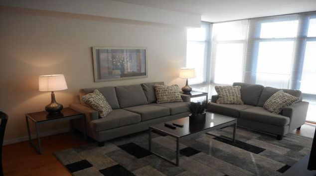 Memorable living area at Wisconsin Place Apartments