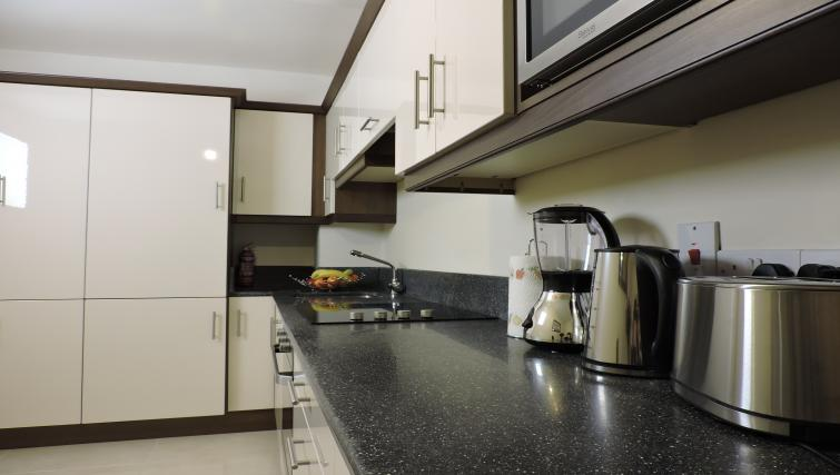 Kitchen space at Five Lamps Suites