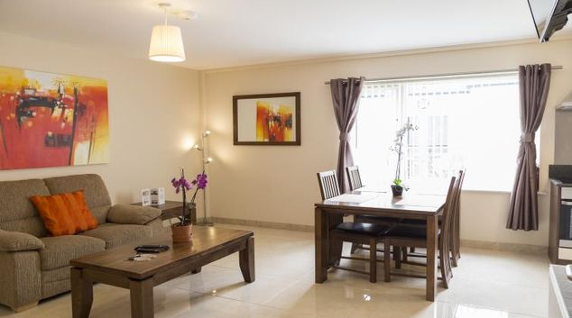 Living area at Five Lamps Suites