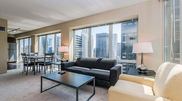 Living area at Washington Street Apartments