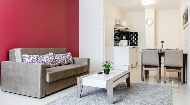 Living area at Commercial House Apartments