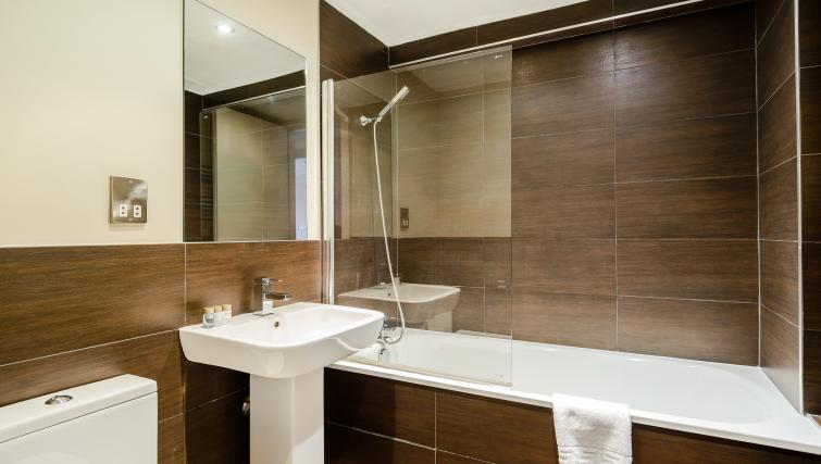 Pristine bathroom at Flying Butler Holborn Apartments