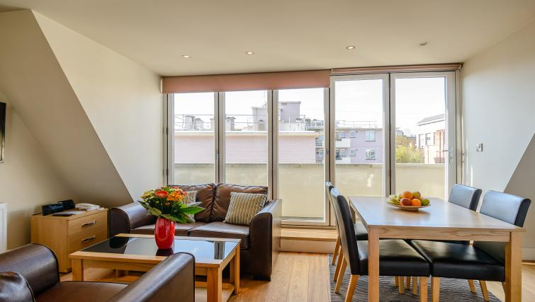 Open plan living area at Flying Butler Holborn Apartments