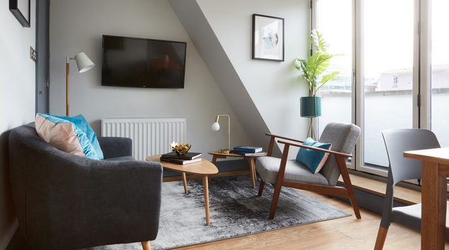 Living area at Flying Butler Holborn Apartments, Holborn, London