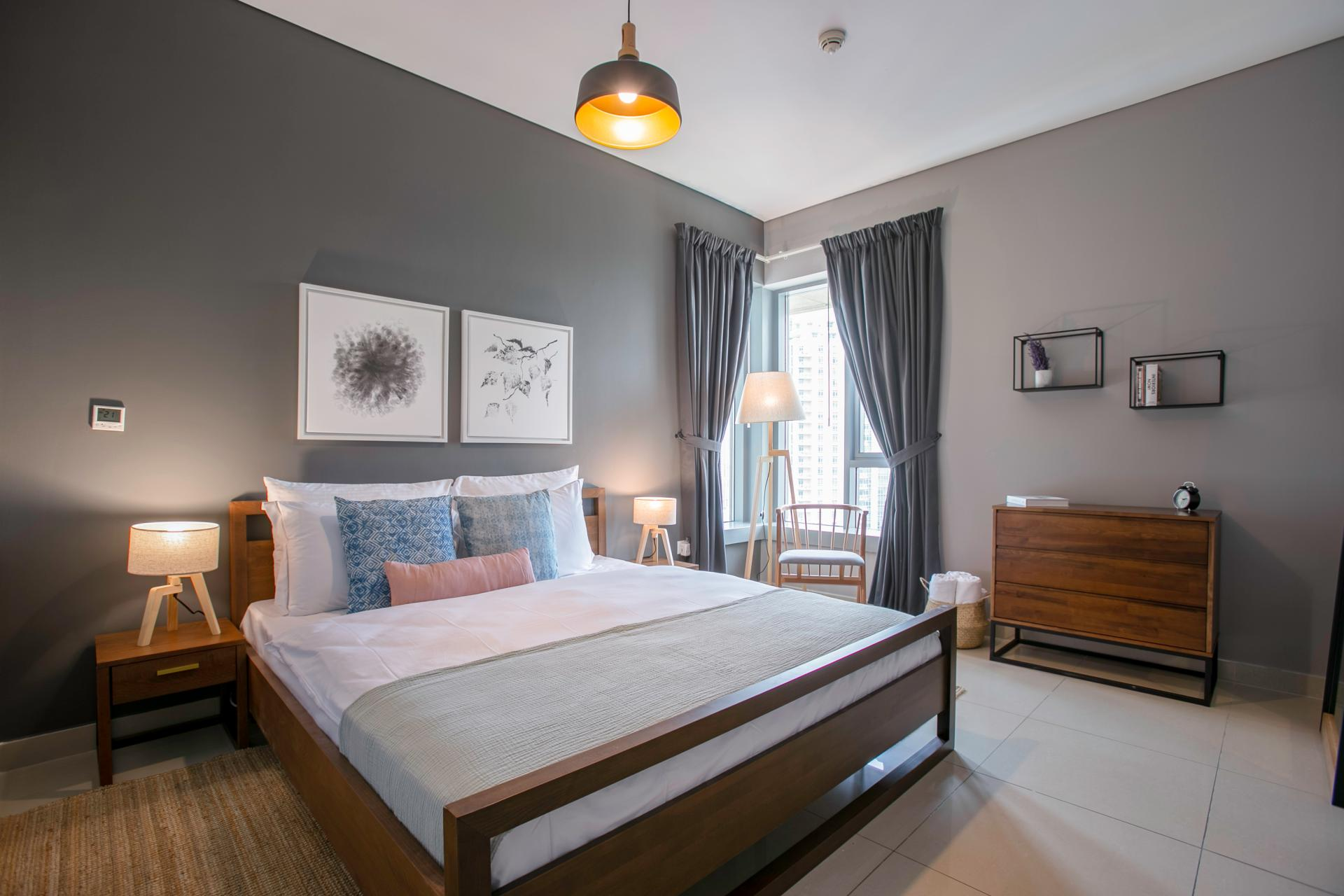 Bright bedroom at DIFC Index Tower Apartment