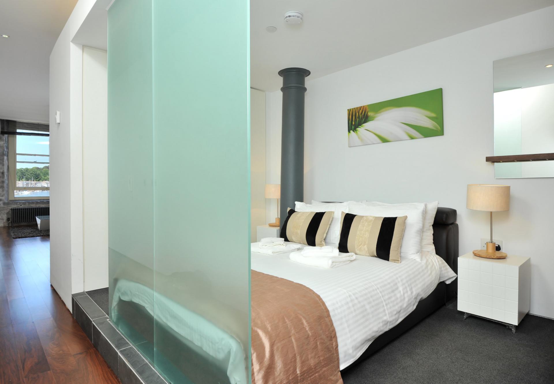 Glass wall at Drakes Wharf Apartments