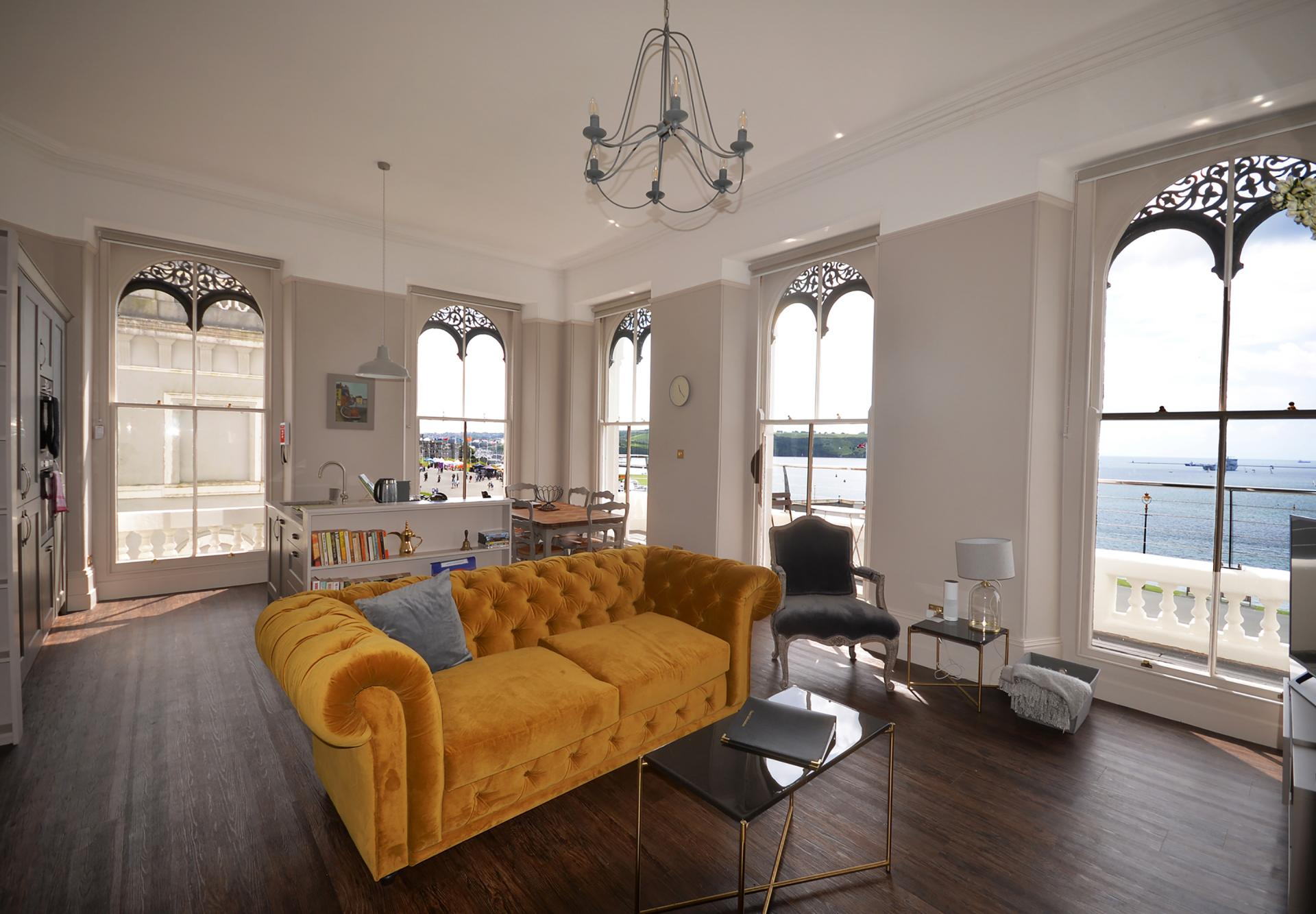 Yellow sofa at Elliot Terrace Apartments