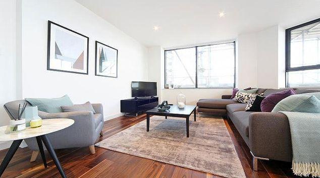 Living area at Harrow Apartments