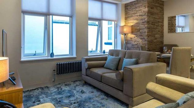 Living area at The Basinghall Apartments