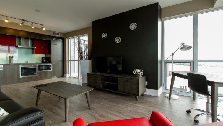 Living area at Front Street West Apartments