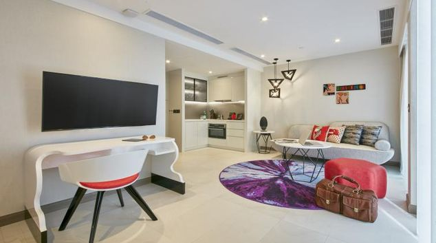 Living area at Oakwood Studios Singapore