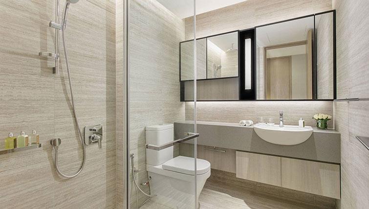 Main bathroom at Ascott Orchard Apartments, Singapore