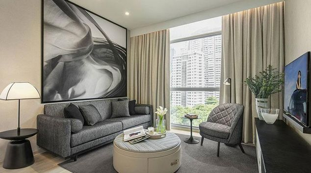 Living area at Ascott Orchard Apartments, Singapore