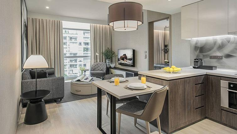 Open plan living area at Ascott Orchard Apartments, Singapore