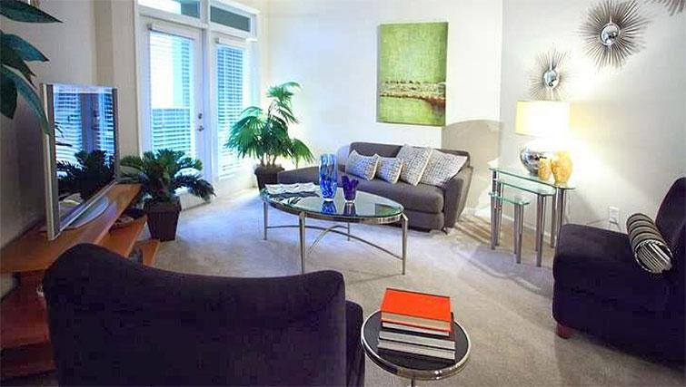Living area at Seventeen West Apartments