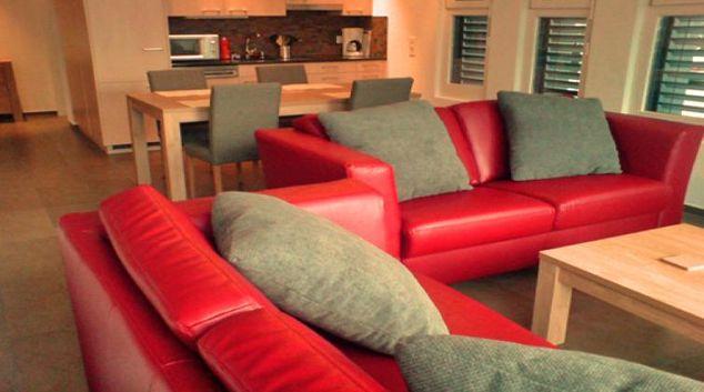 Stylish living room at Grafenaustrasse Apartment