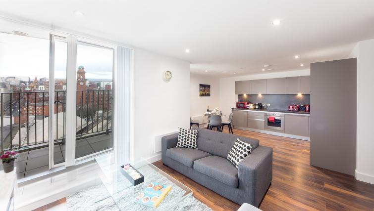 Living room at Cambridge Street Apartments