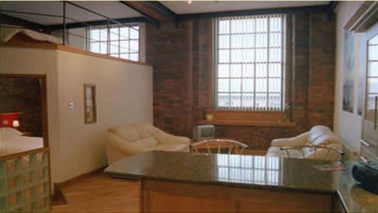 Stunning living area in Trafalgar Warehouse Apartments