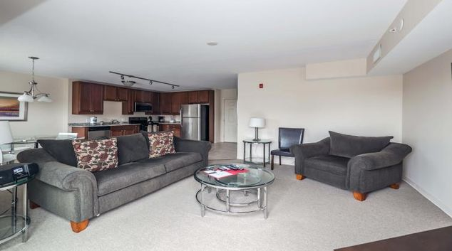 Stylish living area at River 595 Apartment