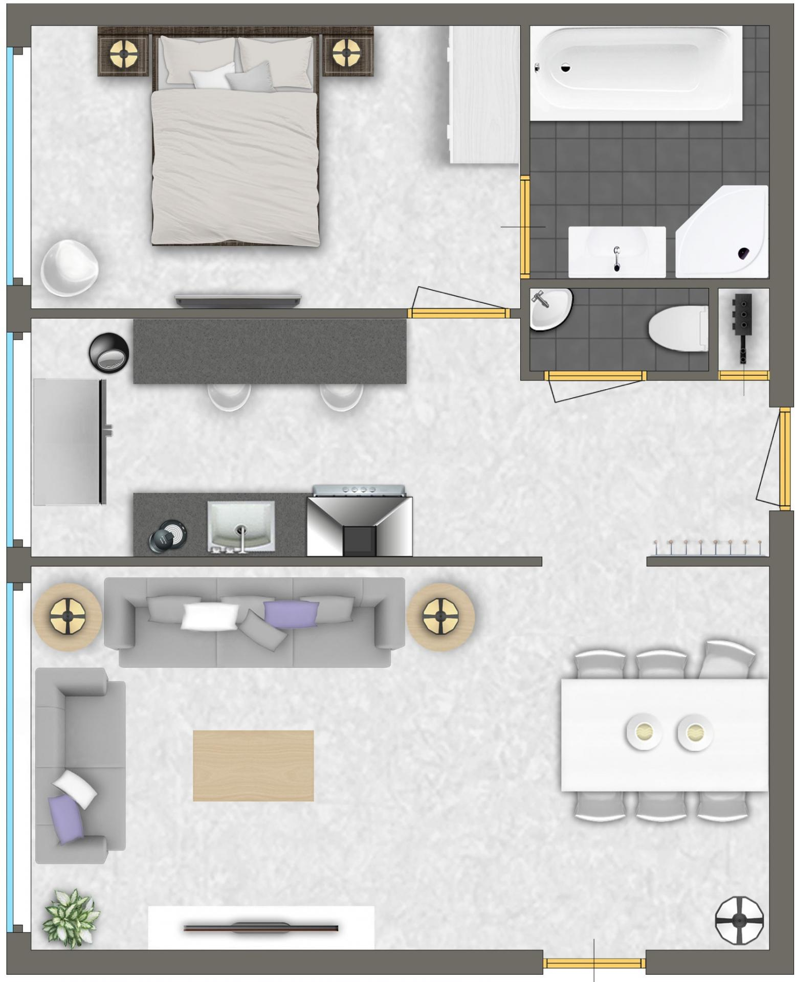 1 bed floor plan at Htel Amsterdam Buitenveldert
