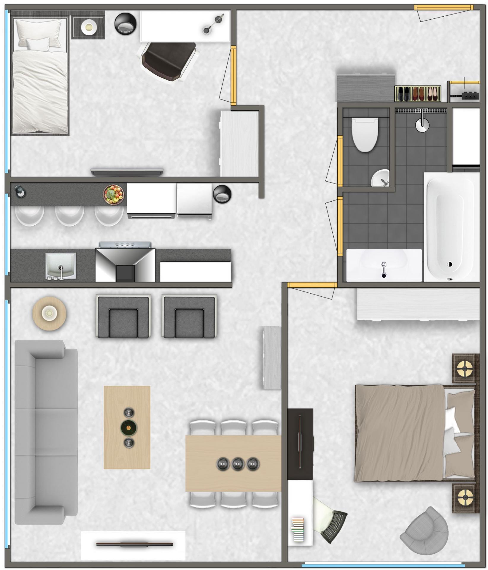 2 bed floor plan at Htel Amsterdam Buitenveldert