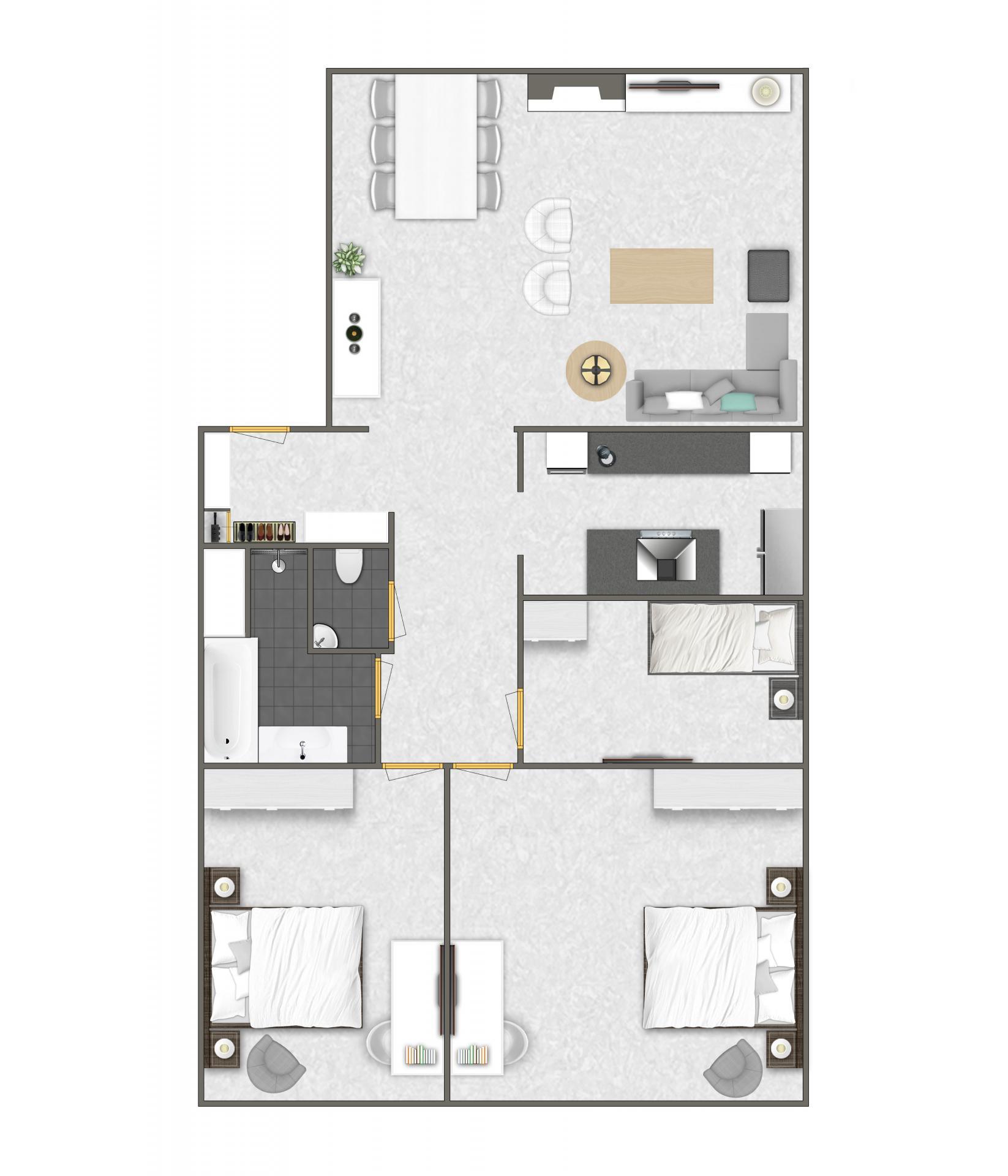 3 bed floor plan at Htel Amsterdam Buitenveldert
