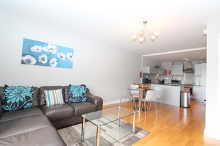Open plan living room at Ingram Apartments, Merchant City, Glasgow
