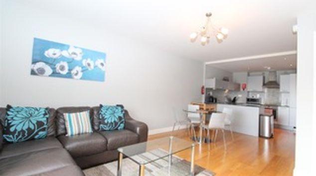 Open plan living room at Ingram Apartments, Merchant City, Glasgow