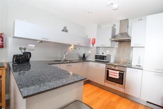 Modern kitchen at Ingram Apartments, Merchant City, Glasgow