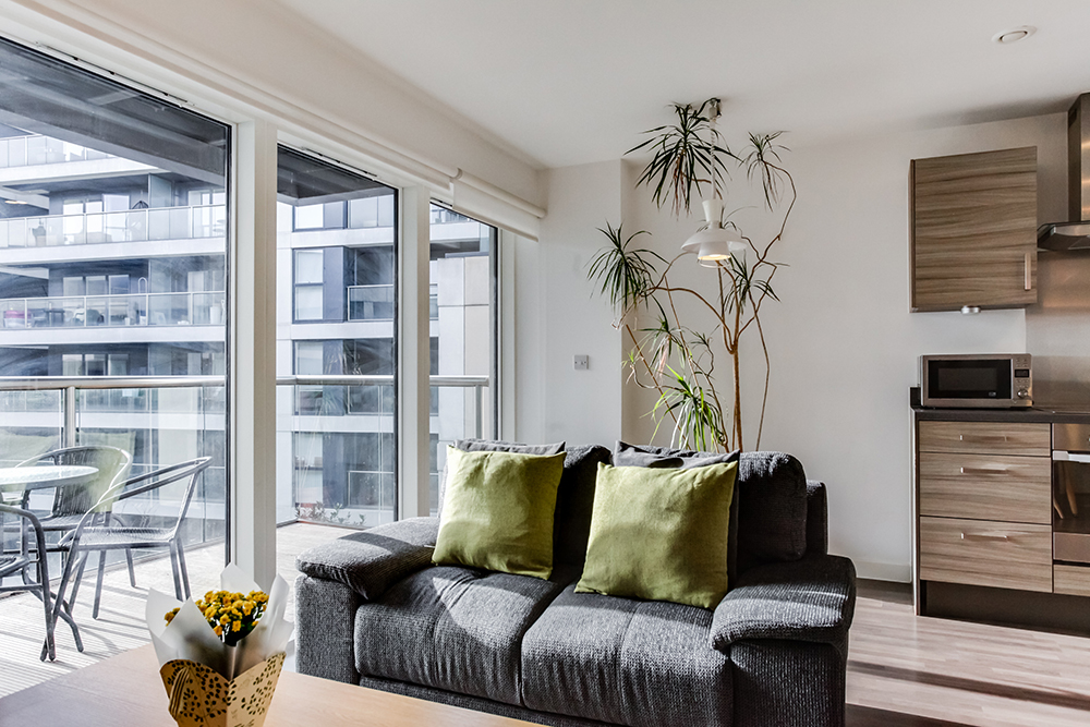 Living room at Dance Square Apartments