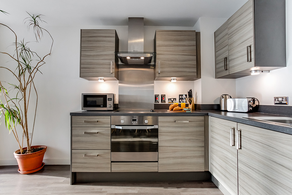 Kitchen at Dance Square Apartments