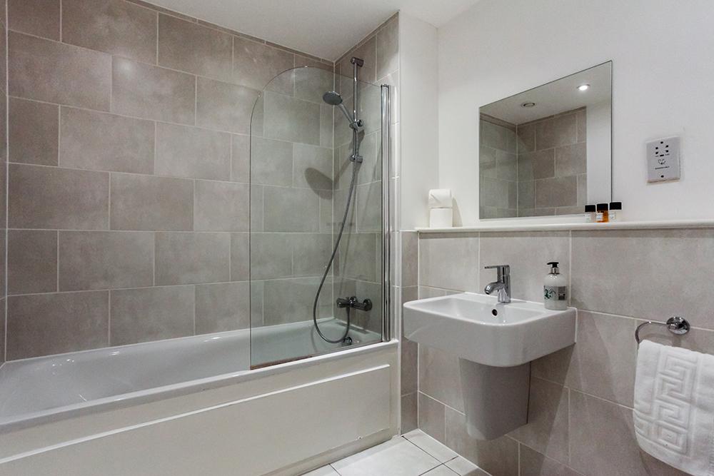 Bathroom at Dance Square Apartments