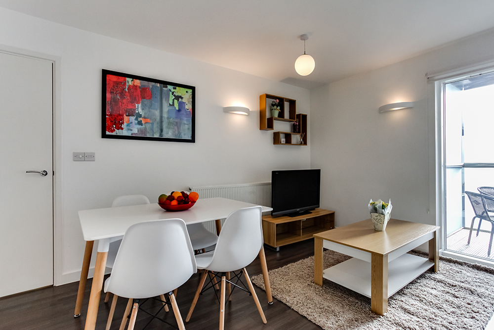 Dining table at Dance Square Apartments