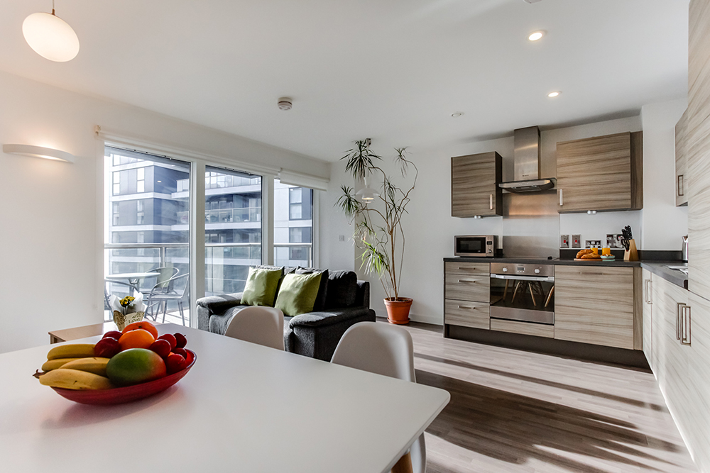 Open-plan kitchen at Dance Square Apartments