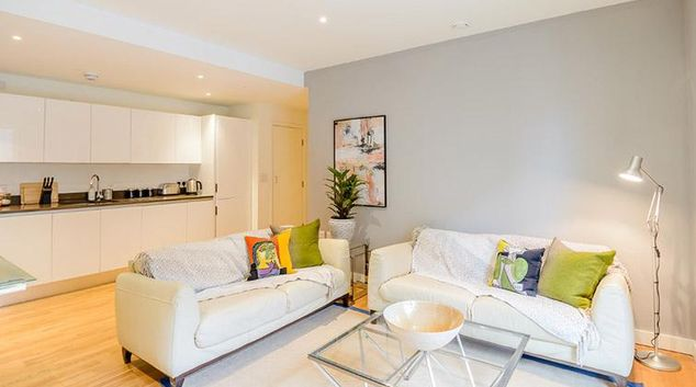 Living area at Victoria Street Apartments
