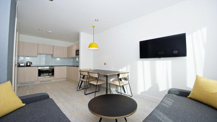Stylish living area at Staycity Manchester Piccadilly