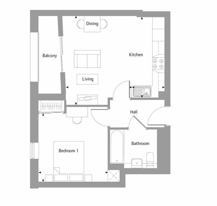 Apartment 26 floor plan at The Bellerby Apartments