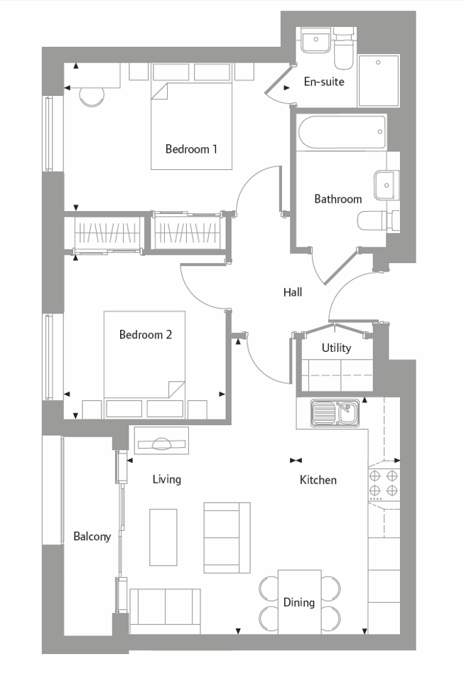 Apartment 28 floor plan at The Bellerby Apartments