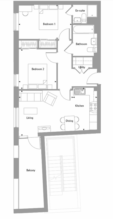Apartment 30 floor plan at The Bellerby Apartments