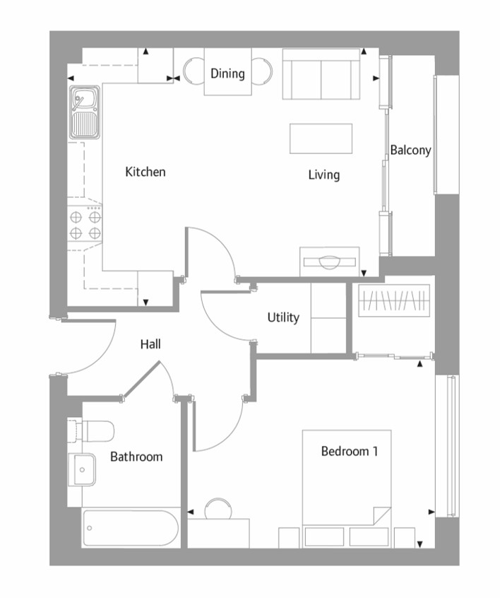 Apartment 39 floor plan at The Bellerby Apartments