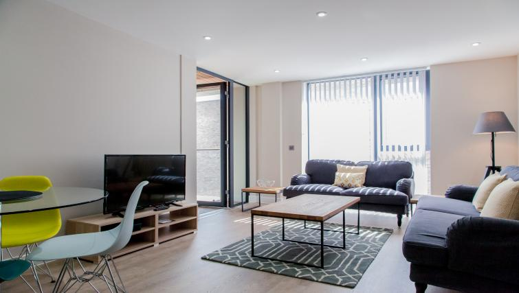 Stylish living area at The Bellerby Apartments