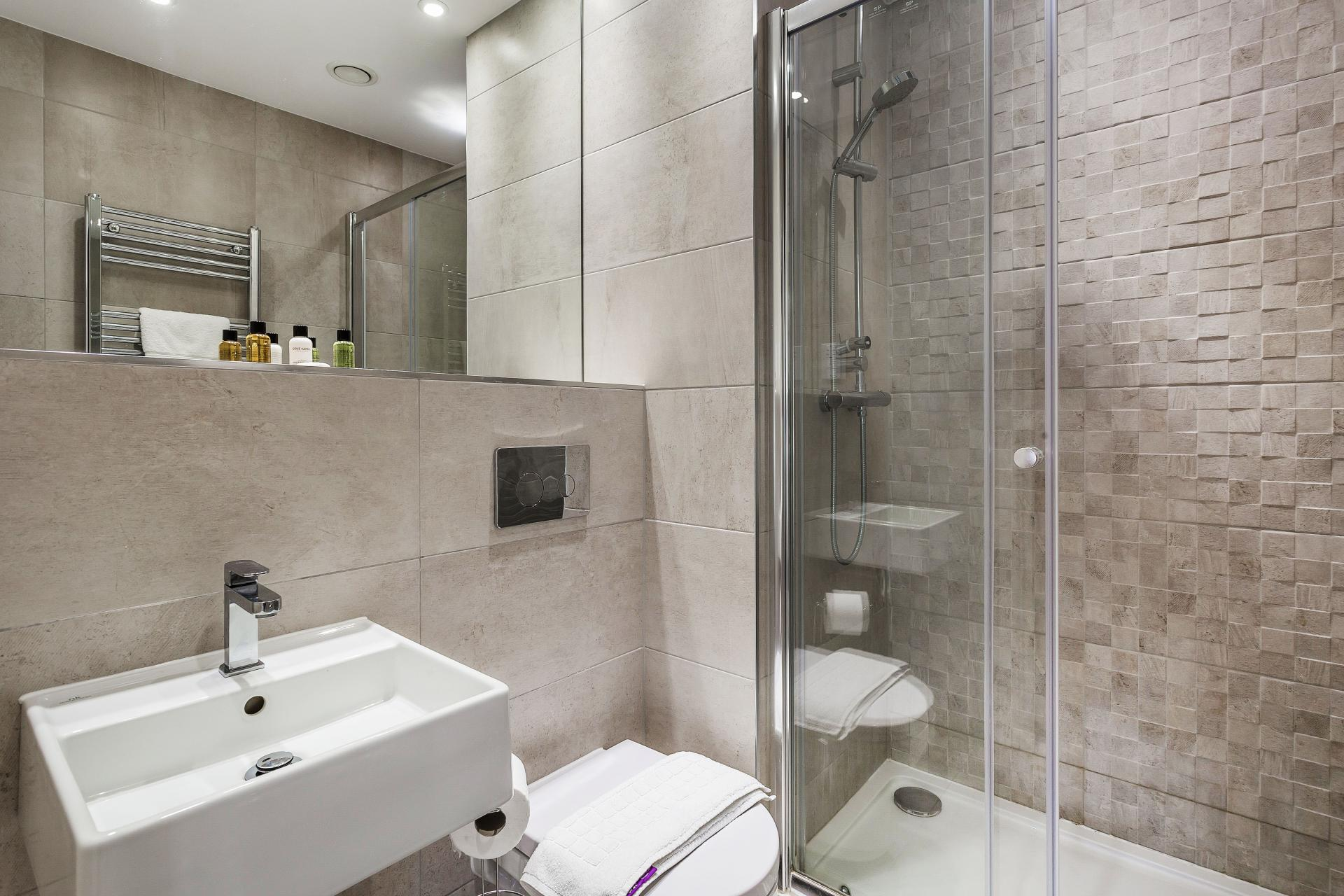 Modern bathroom at The Bellerby Apartments