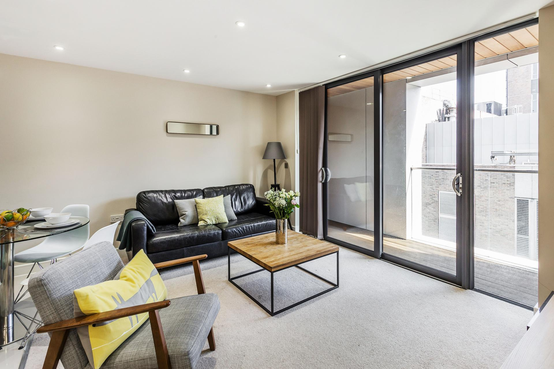Bright living area at The Bellerby Apartments