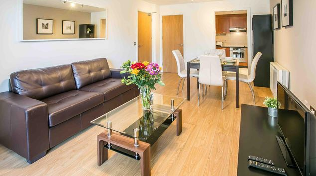 Living area at Longboat Quay South Apartments, Grand Canal Dock, Dublin