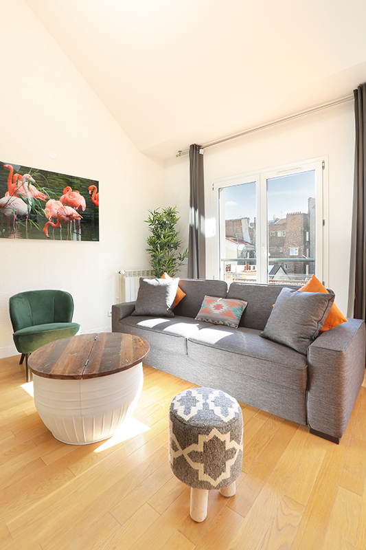 Sofa at Residence Les Lilas Paris Apartment, Les Lilas, Paris